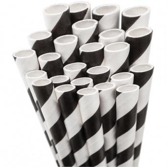 Schwarz-Weiße Vintage Papierstrohhalme - 50s Paper Drinking Straw