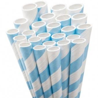 Hellblau-Weiße Vintage Papierstrohhalme - 50s Paper Drinking Straw