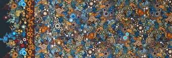 Effervescence Spice Farbverlauf  - Sprudelnde Blasen in Herbsttönen auf Dunkelblau - Kaufman