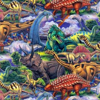 Dinosaurierstoff - Motivstoff mit T-Rex, Stegosaurus, Triceratops uvm. - Age of Dinosaurs Patchworkstoff