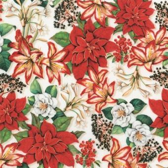Christerne,  Amaryllis & Holunder - Festlicher Blumenstoff - Holiday Poinsettia Floral DIGITALDRUCK Weihnachtsstoff