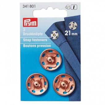 Annähbare Druckknöpfe - Roségold Optik - PRYM Annäh-Druckknöpfe - 15mm, 21mm & 30mm - Kupfer Druckverschlüsse 21mm / 3 Stück