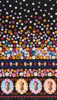 Frida Kahlo Lizenzstoff - Black Flower  Border Mexicana Motivstoff - Mexican Folklore Ethnostoff - Blumenbordürenstoff