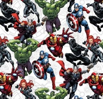 Marvel's Avengers Unite Comicstoff / Superheldenstoff mit Thor, Iron Man, Hulk & mehr