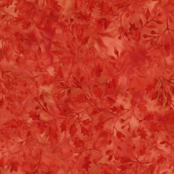 SELTEN! Roter Tonga Blätter & Zweige Batikstoff - Rhubarb Leaves & Twigs by Judel & Judy Niemeyer - Timeless Treasures Balibatiks Patchworkstoffe