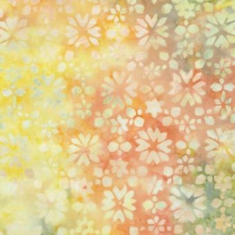 Rosa-Grüner Batikstoff mit Blumen & Blüten - Bouquet Flowers Tonga Batik - Judy & Judel Niemeyer