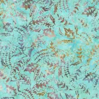 Blätter mit Strandflair Türkis-Beige-Grau - Island Tonga Batik - Timeless Treasures Summer Smiles Collection by Judy & Judel Niemeyer