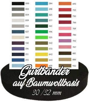 Diverse Farben 30mm Baumwoll-Gurtband - 80/20 Gurtbänder Baumwolle / Polypropylen - 3cm