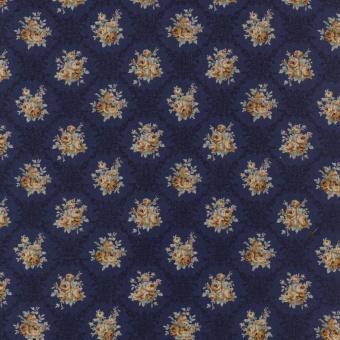 Vintage Shabby Chic Rosenstoff - Lecien Blauer Blumenstoff - Floral Antique Rose Blue