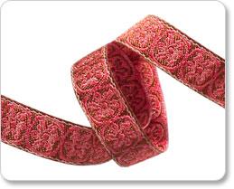 Goldbraun-Koralle Blümchen Webband - Coral Brown Spinning Wheels - Renaissance Ribbons