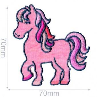 Rosa Pony Flicken mit Sternchen - Pferdchen Aufnäher / Bügelapplikation