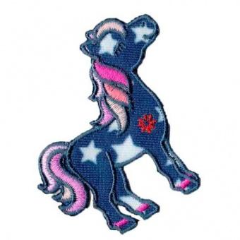 Blaues Pony Flicken mit Sternchen - Pferdchen Aufnäher / Bügelapplikation