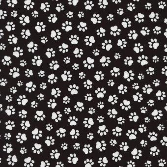 Pfötchenstoffe - Schwarz-Weißer Motivstoff mit Pfoten & Tatzenabdrücken