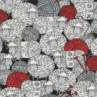 Strickende Schafe als Wollknäul - Schwarz-Weiß-Rot - Motivstoff