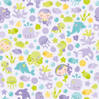 Maritimer Motivstoff mit Meerjungfrauen, Delphin, Oktopus & Seepferdchen - Riley Blake Under The Sea - Purple Mermaids & Seahorses