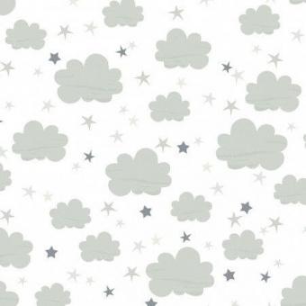 Süßer Wölkchenstoff mit Sternen - Sternchenstoff mit Wolken - Timeless Treasures Patchworkstoff / Kinderstoff