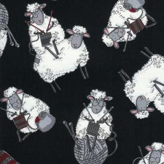Strickende Schafe Tiermotivstoff - Strickmotivstoff mit Schäfchen