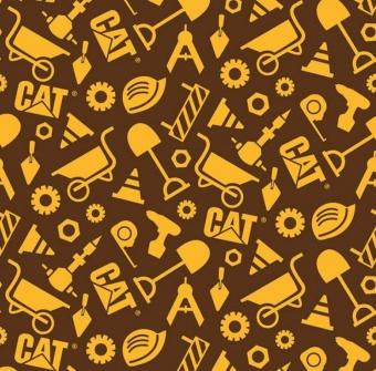 Caterpillar Werkzeugstoff - CAT Baustellenstoff - Original Lizenzstoff - Buildin Crew Construction SetMotivstoff