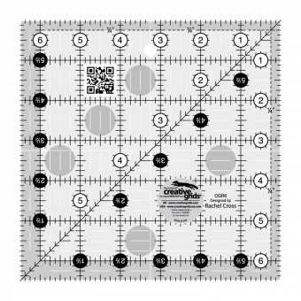 "6 1/2"" x 6 1/2"" Inch-Patchworklineal Quadrat - Creative Grids Non Slip Square Ruler - Quadratisches Rollschneidelineal"