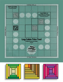 "8"" inch Log Cabin Trim Tool Two 2 II - Creative Grids Non Slip Ruler - Blockhausmuster Patchworklineal"