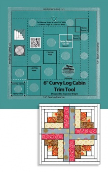 "6"" inch Curvy Log Cabin Trim Tool - Creative Grids Non Slip Ruler - Blockhausmuster Patchworklineal"