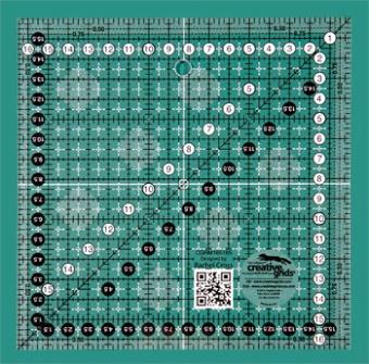 16,5 x 16,5cm Patchworklineal Quadrat - Creative Grids Non Slip METRIC Square Ruler - Quadratisches Zentimeter-Rollschneidelineal