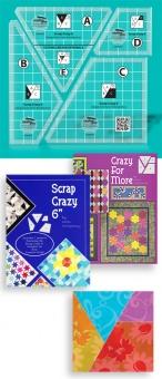 "Scrap Crazy 6"" Ruler - Patchworklineal von Karen Montgomery -  Creative Grids Crazy Patchwork Acrylschablonen"