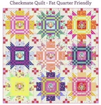 Checkmate Quilt Anleitung - Tula Pink Curiouser & True Colors Designerstoffe Pattern - FreeSpirit Patchworkdecke - GRATIS DOWNLOAD!