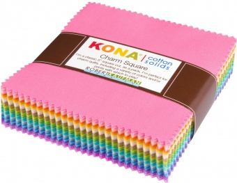 101 Charm Squares Regenbogen - 5x5 Inches Pastel Collection - JUMBO KONA Cotton Charm Paket