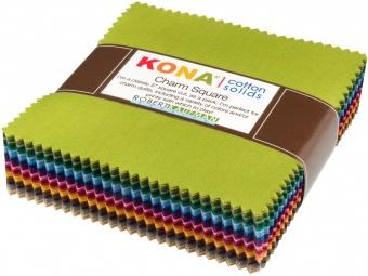 101 Charm Squares Regenbogen - 5x5 Inches Dusty Collection - JUMBO KONA Cotton Charm Paket