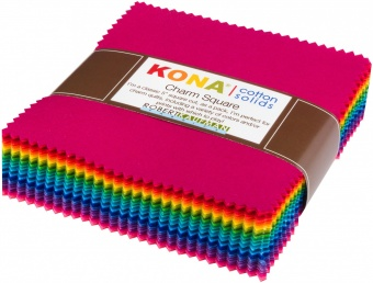101 Charm Squares Regenbogen - 5x5 Inches Bright Collection - JUMBO KONA Cotton Charm Paket