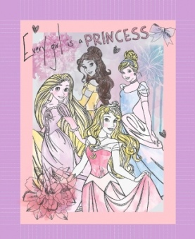 """Original Prinzessinnen Disneystoff PANEL mit Belle, Cinderella, Rapunzel & Dornröschen - Disney's """"Every girl is a princess"""" Originalstoff"""