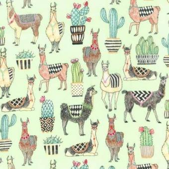 Witzige Alpacas & Lamas mit Kakteen Motivstoff - Mint Lovely Llamas - Michael Miller Patchworkstoff