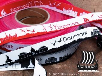 Danmark / Dänemark Rot-Weiß - Meine Heimat Skyline Webband / Bändchen - Meterware