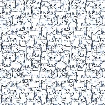 """Blau-Weißer Katzenstoff """"Wait a Meow-Ment"""" - Creative Cats by Dear Stella Collection Tiermotivstoff mit Kätzchen"""