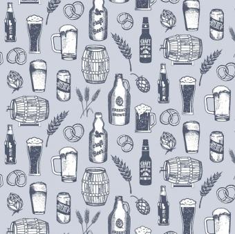 """Biergläser, Bierflaschen & Bierfässer Motivstoff - """"Cadet Craft Beer Brew Bierstoff"""" -  Dear Stella Chop It Like It's Hot Collection Patchworkstoffe"""
