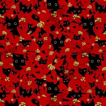 """Lustiger Katzenstoff """"Deck the Paws"""" - Meowy & Bright Cats by Dear Stella Collection Tiermotivstoff mit Kätzchen"""