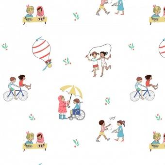 Freundschaft, Inklusion & Integration - Soft White be a Friend Motivstoff- Wonderful World by Sarah Jane Studios Märchenstoffe