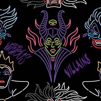 """Disney Villains Bösewichte Lizenzstoff - Original Disneystoff / Halloweenstoff """"Villian Outline"""""""