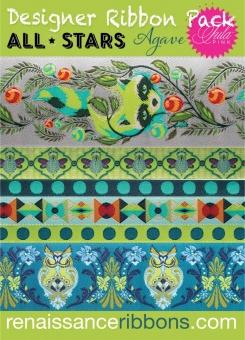 All Stars Tula Pink Designer Ribbon Pack - Renaissance Ribbons Webbänder Set mit Raccoons & Owls
