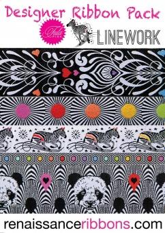 Linework Tula Pink Designer Ribbon Pack - Renaissance Ribbons Webbänder Set