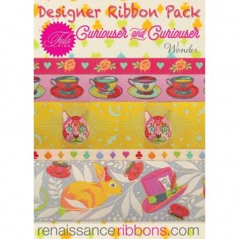 Curiouser & Curiouser Wonder Tula Pink Designer Ribbon Pack - Renaissance Ribbons Webbänder Set - VORBESTELLUNG! ca. Juni 2021