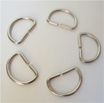 25mm D-Ring - Metall D-Ringe - Silber 2,5cm