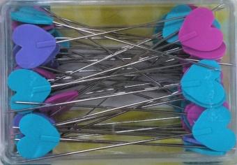 50 Herzchennadeln - Flat Heart Pins - Lange Stecknadeln