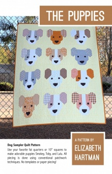 Süßer Hunde Quilt - The Puppies Pattern by Elizabeth Hartman - Patchworkdecke Schnittmuster