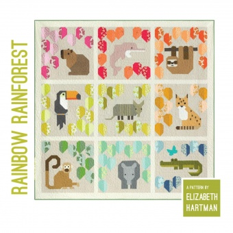 Rainbow Forest Pattern by Elizabeth Hartman - Dschungeltiere Patchworkdecke Schnittmuster - VORBESTELLUNG ca. August 2021!