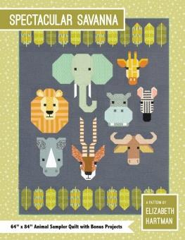 Afrikaquilt Tiere der Savanne - Spectacular Savanna Pattern by Elizabeth Hartman - Safari Patchworkdecke Schnittmuster