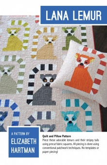 Süßer Lemuren Quilt - Lana Lemur Pattern by Elizabeth Hartman - Patchworkdecke Schnittmuster & Anleitungsbuch