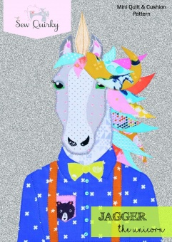 Einhornquilt - Jagger the Unicorn Schnittmuster von Sew Quirky - Mini Quilt & Cushion Pattern