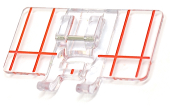 9mm Stickfuß mit Führung - Klarsichtfuß & Bordürenführung - ELNA Border Guide Foot